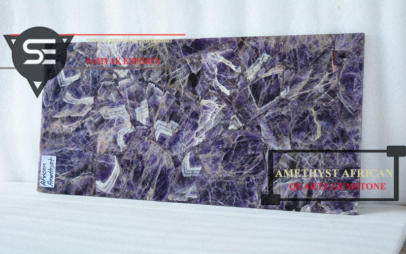 Amethyst African Quartz Gemstone Tile Slab Kitchen Countertop Manufacturer and Exporter in India