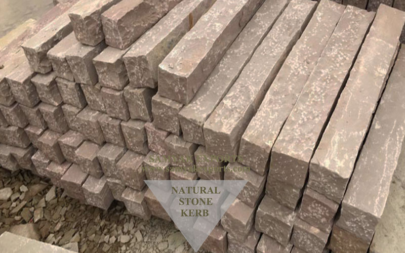 Bijoliya Red Sandstone Kerb Stones, Edging Kerb stones Manufacturer in India