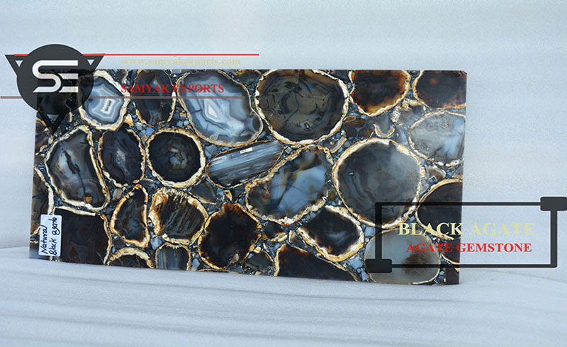 Black Agate Gemstone Tile Slab Countertop Vanity Top Table Top Manufacturer in India