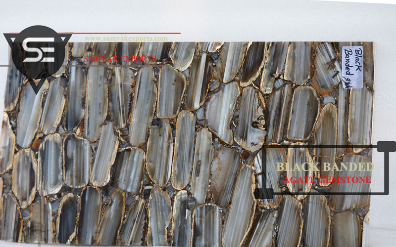 Black Banded Agate Gemstone Tile Slab Exporter Manufacturer in India