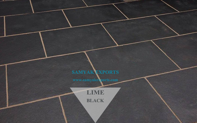 Black Limestone Tile Slab, Paving Patio, Pavers Tile Manufacturer Supplier In India
