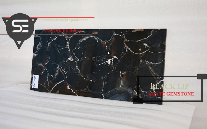 Black Agate Gemstone Tile Slab Interior Stone Manufacturer In India