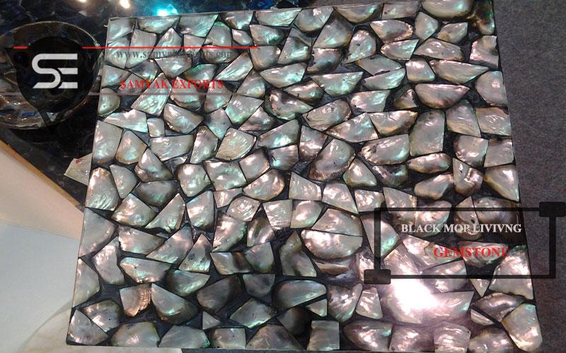 Black Mop Gemstone Tile Slab