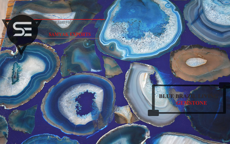 Blue Brazil Gemstone Tile Slab Table top Manufacturer In India