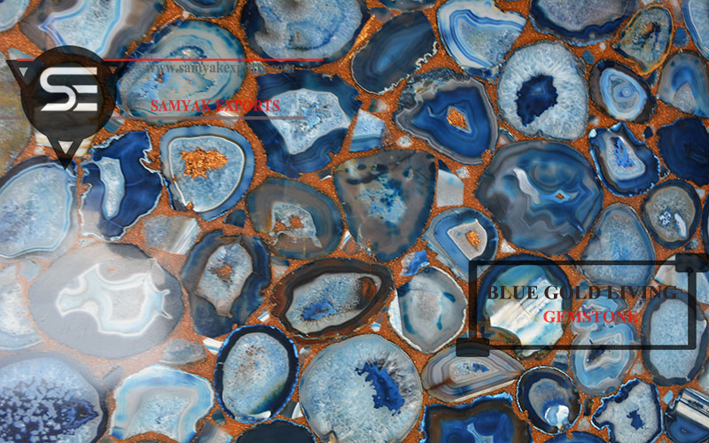 Blue Gold Gemstone Tile Slab Wall Capping Gemstone Tile In India