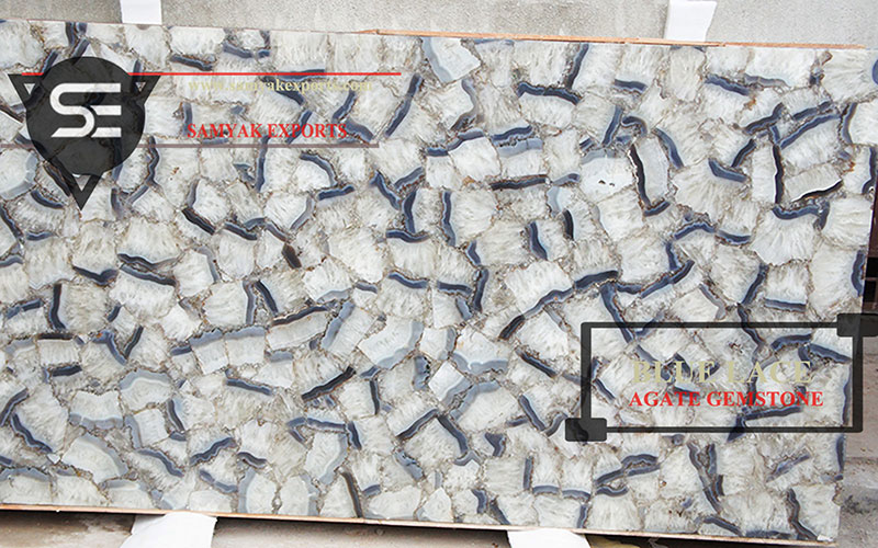 Blue Lace Agate Gemstone Tile Slab Kitchen Countertop Manufacturer in India