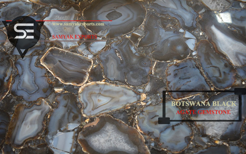 Botswana Black Agate Gemstone Tile Slab Manufacturer Exporter in India