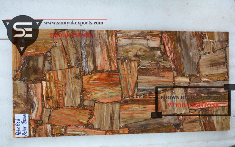 Brown Petrified Wood Gemstone Countertop Tabletop Slab Manufacturer in India