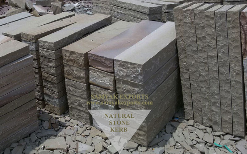 Buff Sandstone Kerb Stones, Walling Stones Manufacturer in India