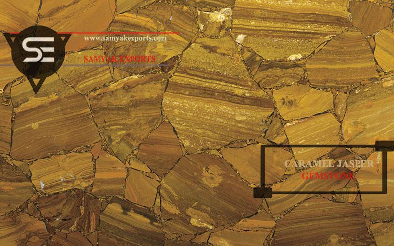 Caramel Jasper Gemstone Tile Slab Countertop Tabletop Interior Luxury Stone Manufacturer In India