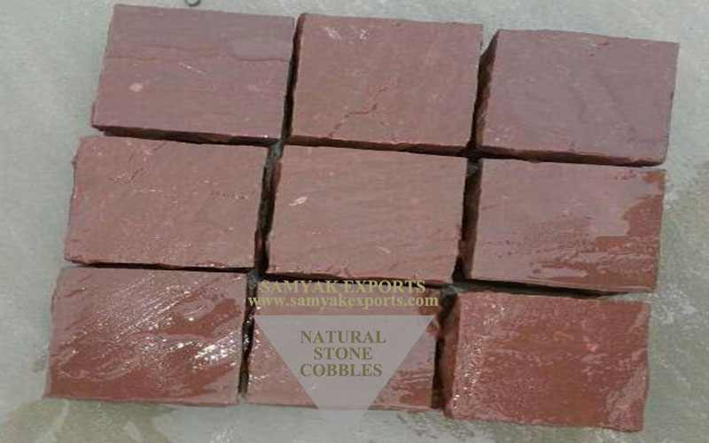Chocolate Sandstone Cobbles Stone, Outdoor Cobbles Manufacturer in India