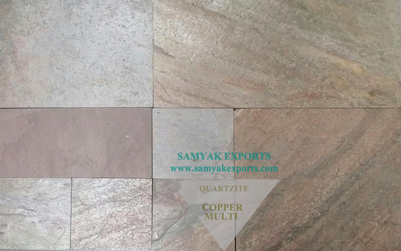 Copper Multi Quartzite Tile Slab Largest Manufacturer, Exporter In India