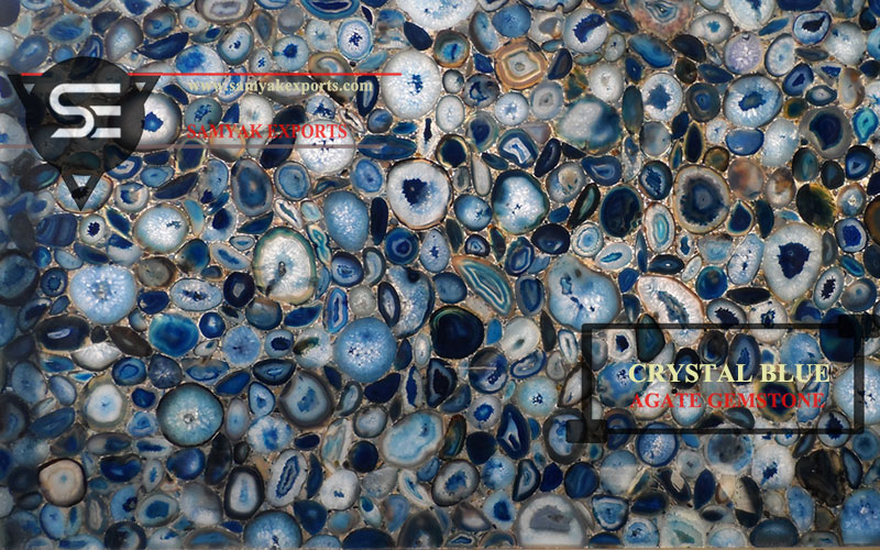 Crystal Blue Agate Gemstone Tile Slab Manufacturer in India