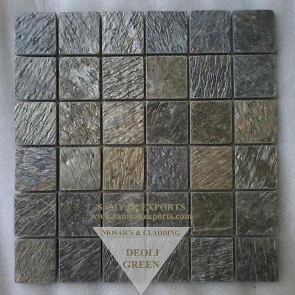Deoli Green Stone Wall Cladding Mosaic Tile, Panel Manufacturer in India