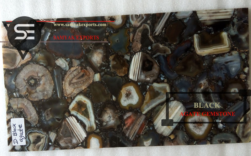 Indian Dyed Black Agate Gemstone Kitchen Countertop Manufacturer And Supplier In India