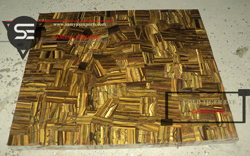 Gold Tiger Eye Semi Precious Gemstone Tile Slab Exporter Supplier In India