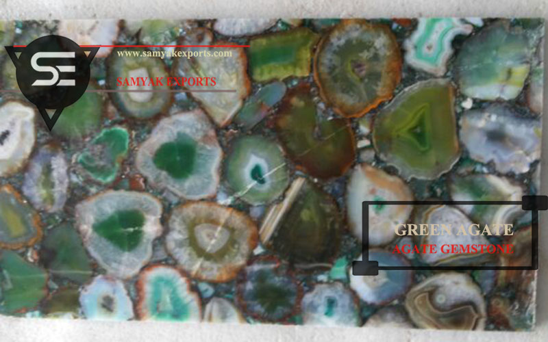 Green Agate Gemstone Tile Slab Countertop Tabletop Bartop Manufacturer in India