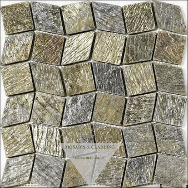 Green Rectangle Stone Wall Cladding Mosaics Tile, Panel Supplier In India