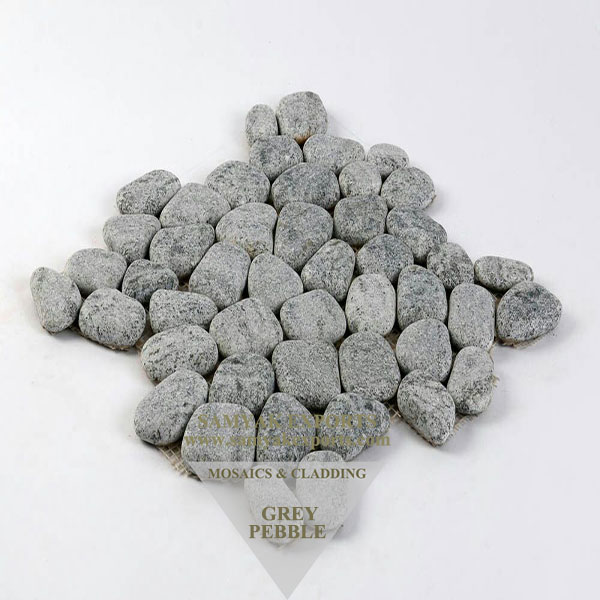 Grey Pebble Stone Mosaic Tile, Paving Mosaics, Walling Mosaics Manufacturer in India