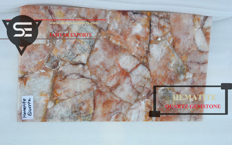 Hematite Quartz Gemstone Tile Slab Supplier Manufacturer Exporter in India