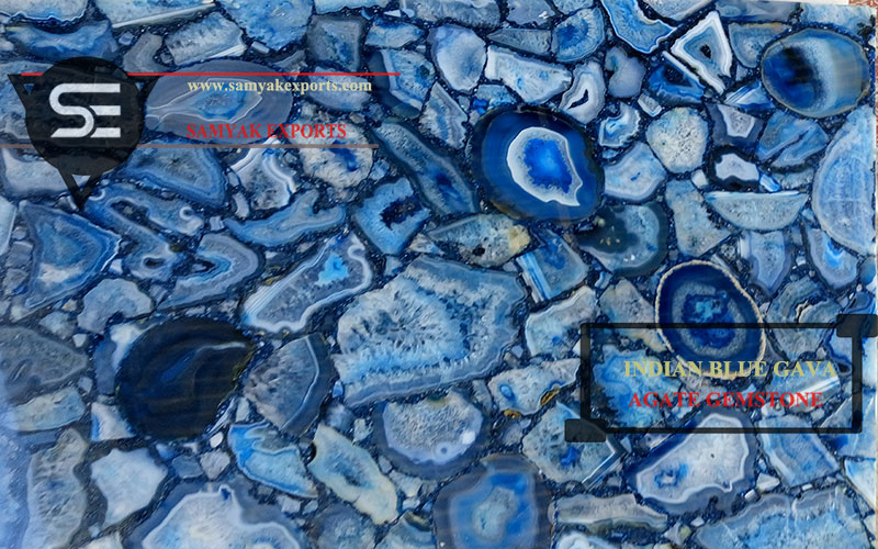 Indian Blue Gava Agate Gemstone Tile Slab Manufacturer And Exporter in India