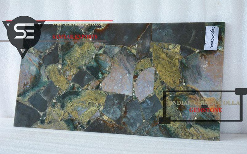 Indian Chrysocolla Gemstone Tile Slab Manufacturer Supplier In India