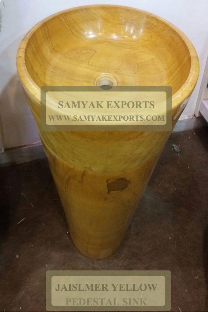 Jaisalmer Yellow Round Stone Pedestal Sink, Wash Basins Manufacturer In India