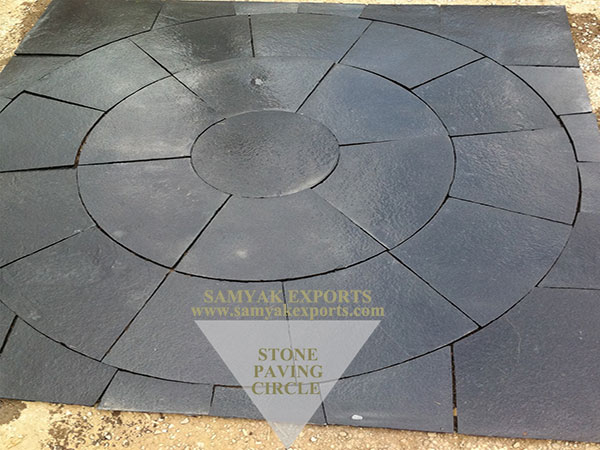 Kota Black Limestone Paving Circle, Pavers, Hardscapes Manufacturer in India