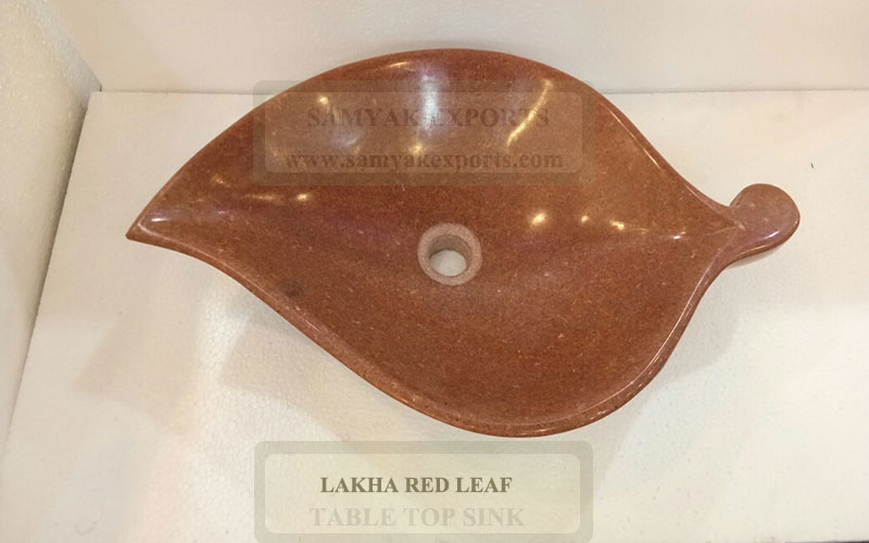 Lakha Red Leaf Stone Table Top Sink, Table Top Basin Supplier In India