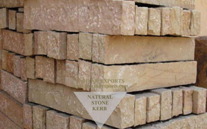 Lalitpur Yellow Sandstone Kerb Stones, Walling Stone, Capping Stone Manufacturer in India