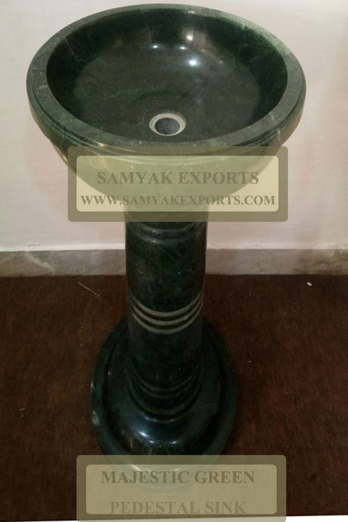 Majestic Green Stone Pedestal Sink, Wash Basins Manufacturer, Supplier in India