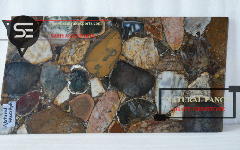 Natural Fancy Agate Gemstone Tile Slab Top Manufacturer And Exporter in India