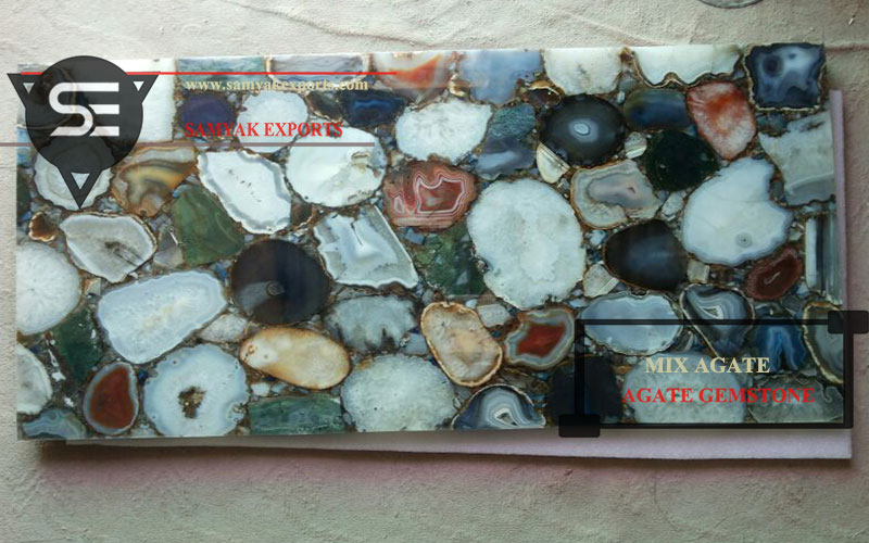 Natural Mix Agate Gemstone Tile Slab Top Supplier In India