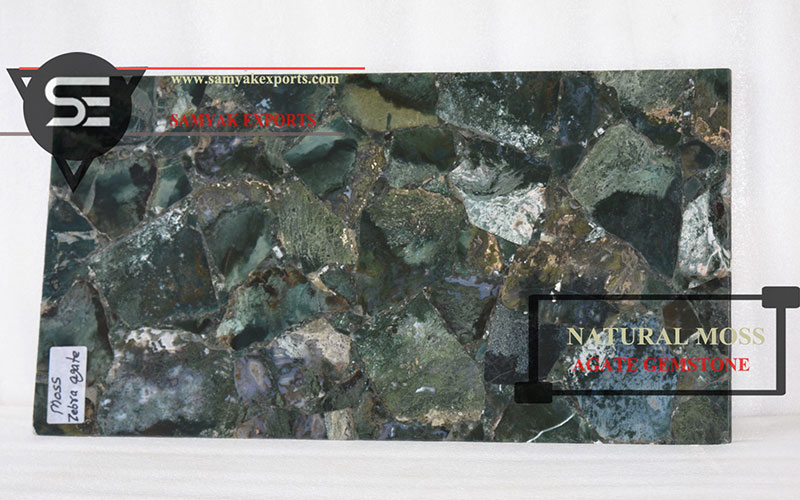 Natural Moss Agate Gemstone Tile Slab Top Company In India