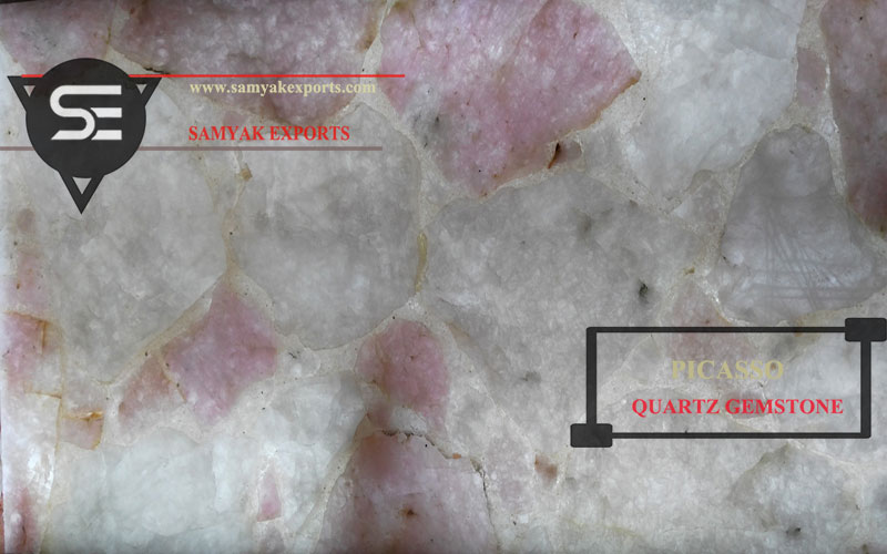 Picasso Rose Quartz Semi Precious Gemstone Tile Slab Supplier In India