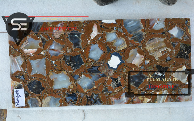 Plum Agate Gemstone Tile Slab Backlit Stone Manufacturer in India