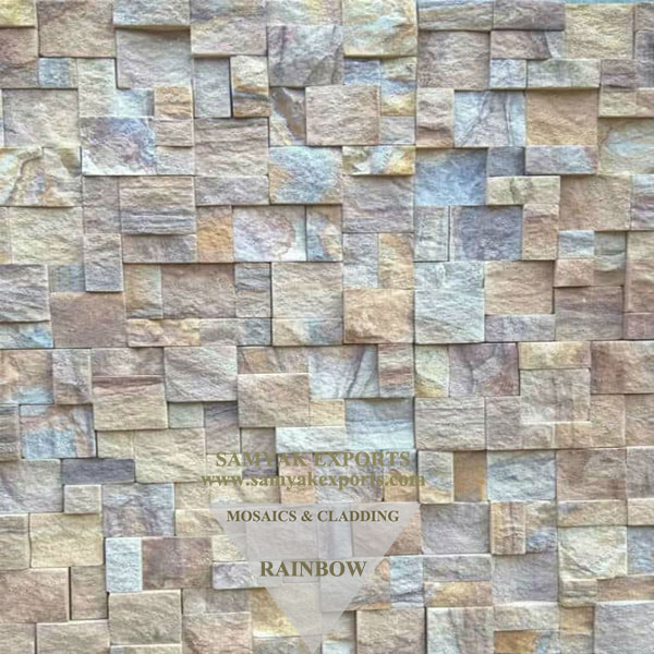 Rainbow Sandstone Mosaic Tile, Panel Manufacturer in India