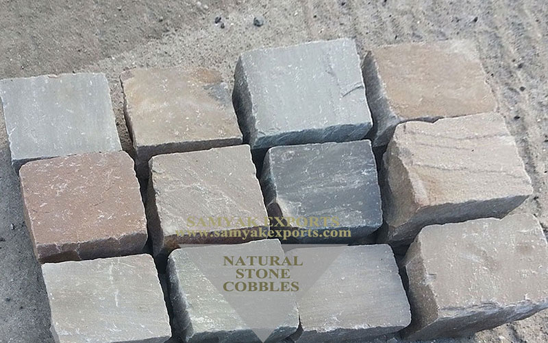 Raj Green Sandstone Cobbles, Pavers Manufacturer in India
