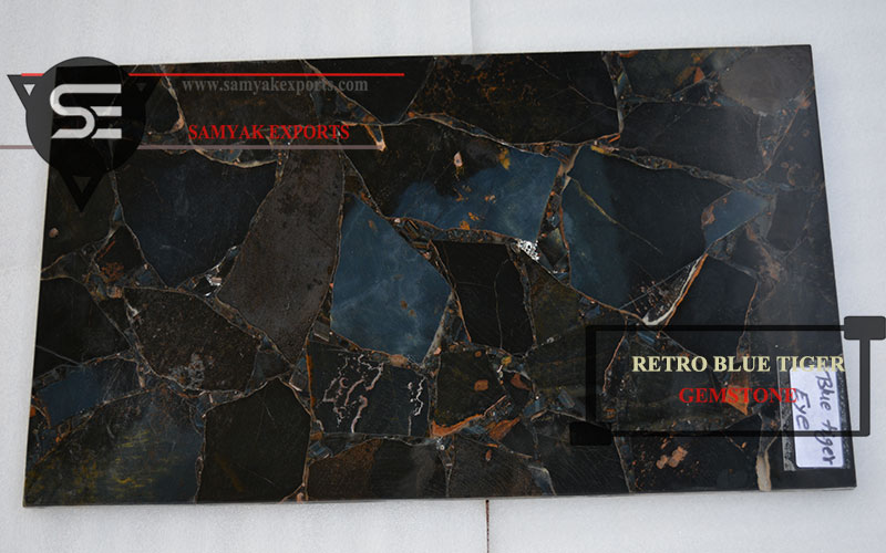 Retro Blue Tiger Gemstone Tile Slab Manufacturer in India