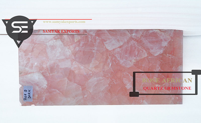 Rose African Quartz Gemstone Tile Slab Kitchen Countertop in India