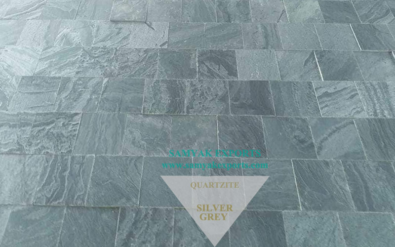 Silver Grey Quartzite Tile Slab, Worktop, Pool Coping, Garden Flooring Manufacturer and Exporter in India