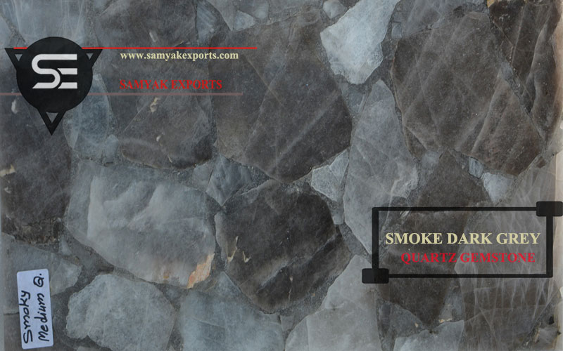 Smoke Dark Grey Quartz Gemstone Tile Slab Top Manufacturer in India