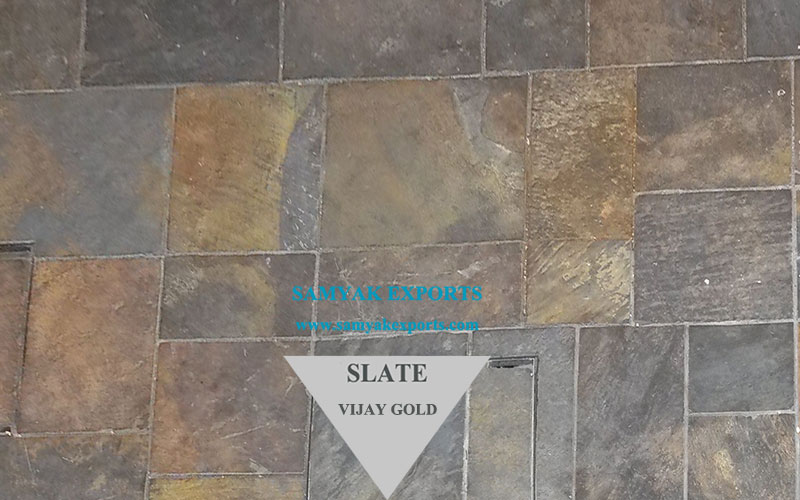 Vijay Gold Slate Stone Tile Exporter Supplier In India