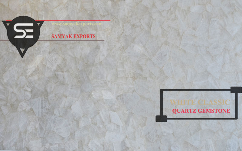 White Classic Quartz Gemstone Tile Slab Supplier in India