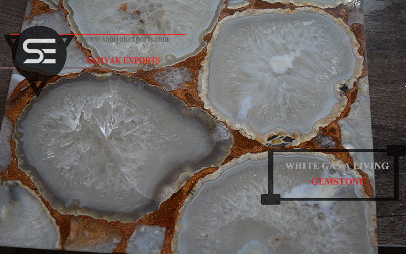 White Gava Gemstone Tile Slab Countertop Manufacturer in India