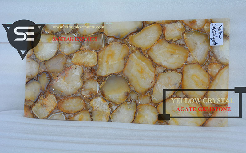 Yellow Crystal Agate Gemstone Tile Slab Supplier Exporter Manufacturer in USA