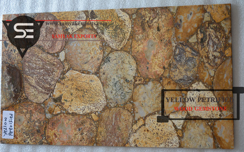 Yellow Petrified Wood Gemstone Tile Slab, Interior Products, Vanity Top, Countertop, Worktop, Backlit Stone, Manufacturer, Exporter, Supplier In India