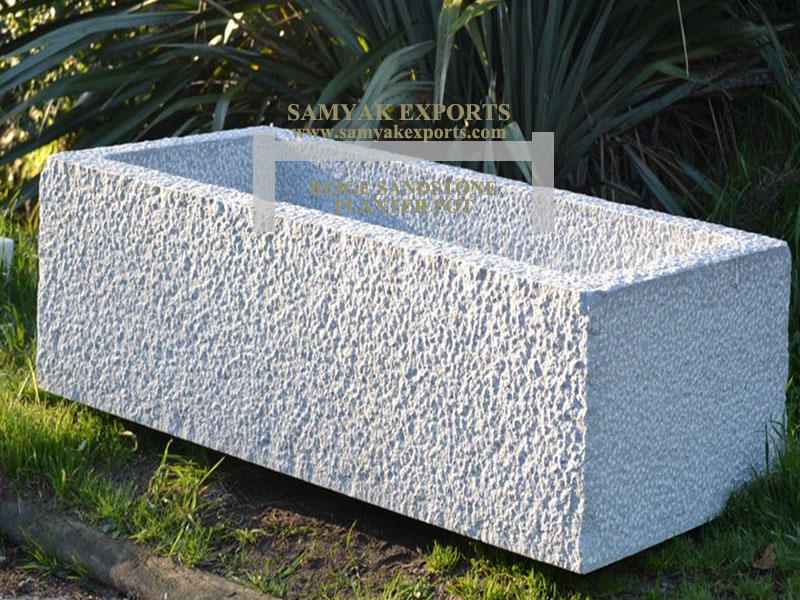 Beige Sandstone Planter Pot, Garden Flower pot Manufacturer, Exporter, Supplier In india, In Rajasthan, In Udaipur
