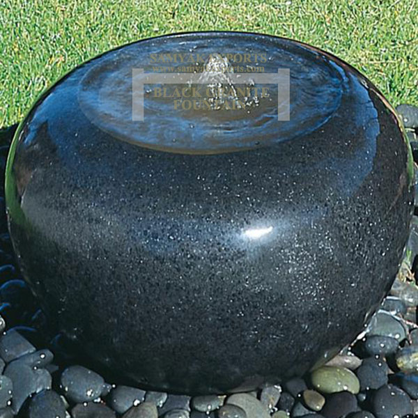 Black Granite Stone Ball Fountain, Stone Water Feature Manufacturer, Supplier In India, In Udaipur