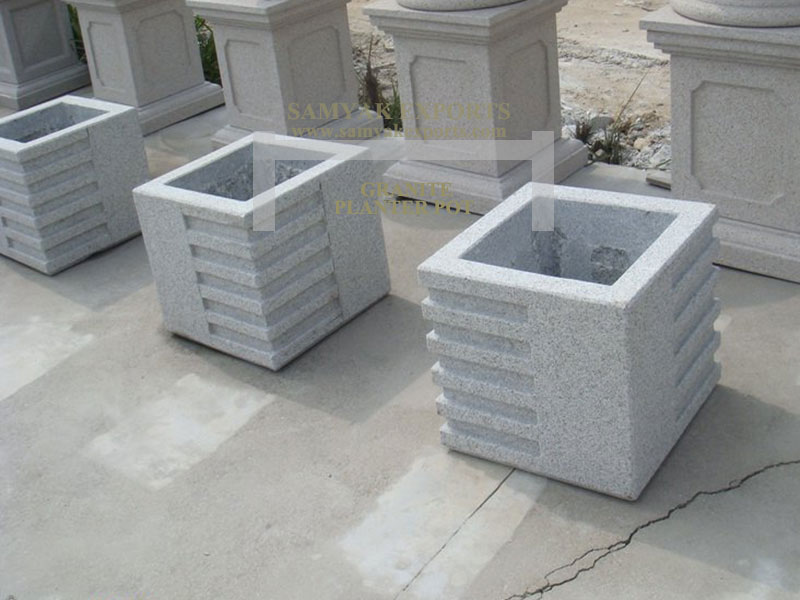 Granite Square Planter Pot, Flower Pot, Manufacturer, Supplier, Exporter In Udaipur, In Rajasthan, In India